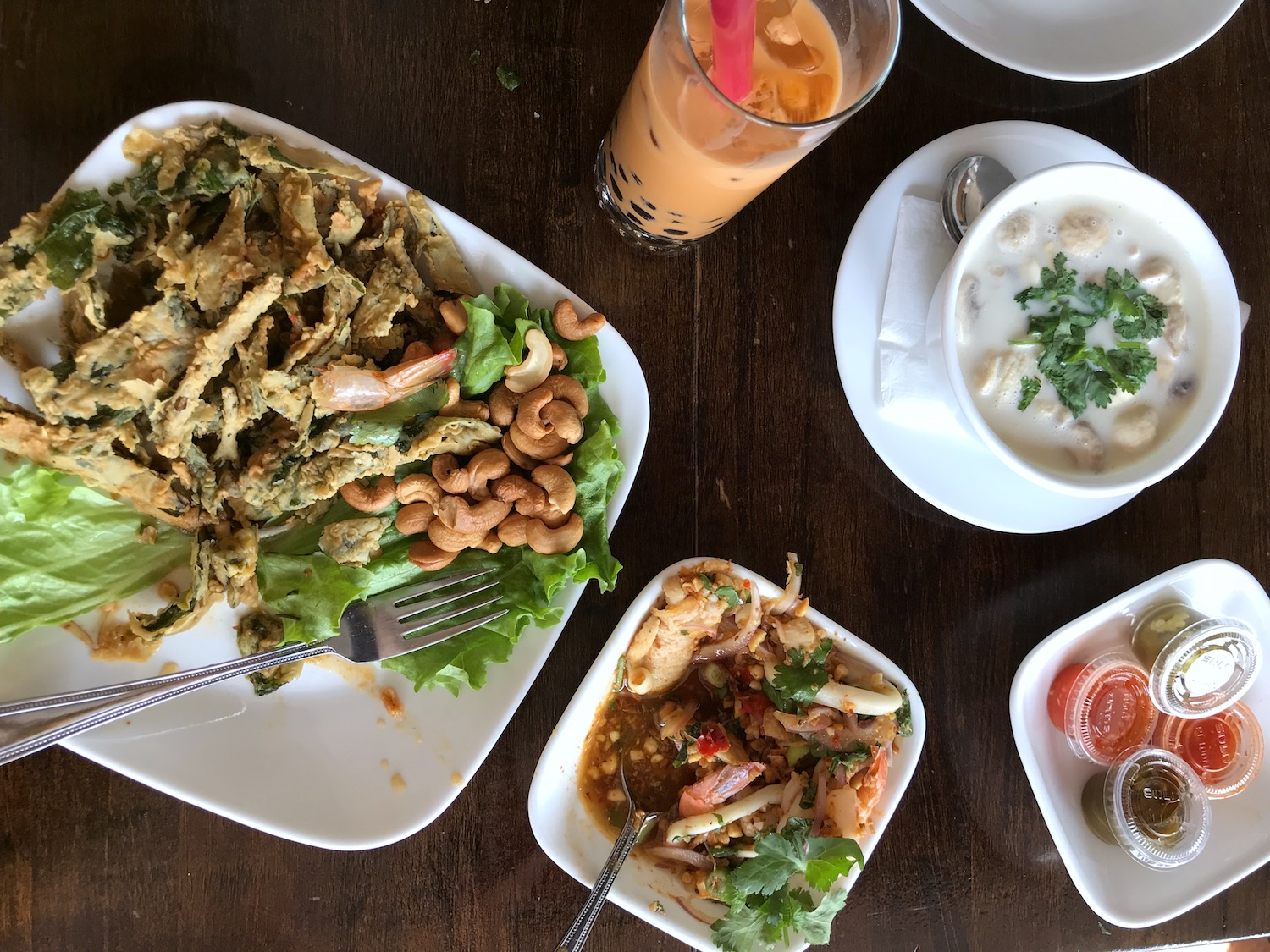 A spread at the James Beard nominated SriPraPhai restaurant in Woodside, Queens.