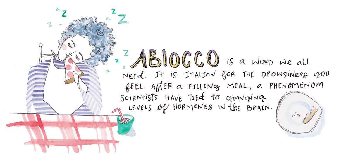 Abbiocco is a word we all need. It's Italian for the drowsiness you feel after a filling meal, a phenomenon scientists have tied to changing levels of hormones in the brain.