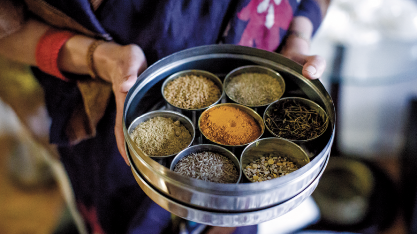 Rachana Rimal presents a colorful selection of Nepali culinary spices and herbs.