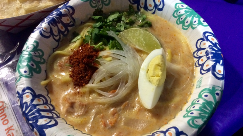 Burmese Bites' coconut chicken soup ohno-kaukswe is eaten any time of day, from breakfast to a midnight snack in Myanmar.
