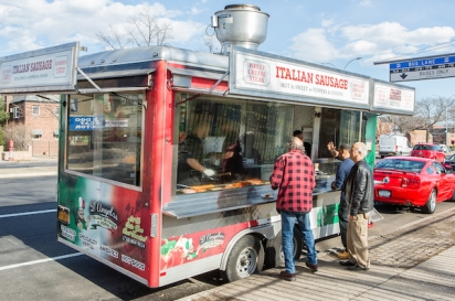 D'Angelo's Italian sausage food trailer on Woodhaven Blvd in Queens build by 800BuyCart.
