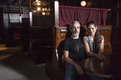 Richie and Paty Bocatto, owners of Hundredweight Ice, in Dutch Kills, their adjoining bar.