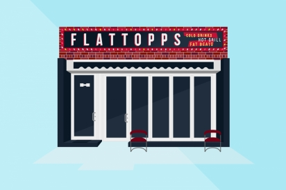 Flattopps offers burgers and cocktails in Astoria, Queens.