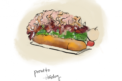 A loaded hot dog from Prontito in Jackson Heights, Queens New York.