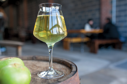 A glass of Descendant's cider at Fifth Hammer Brewing Co.