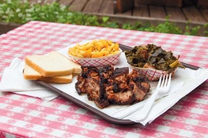 Burnt ends, mac and cheese, and collard greens at the John Brown Smokehouse.