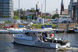 One of Riverkeeper's boats patrolling on the Newtown Creek.