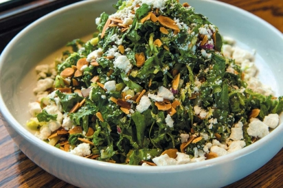 The Pomeroy's kale and Brussels sprouts salad with toasted almonds, ricotta salata, apple and red onion