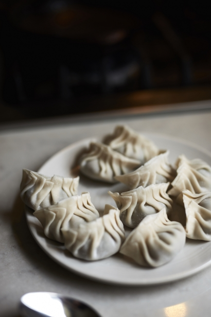 Finished dumplings ready to be fried at Chef Thomas Chen's home in Queens.