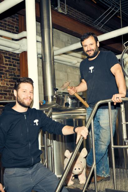 David Scharfstein and Chris Cuzme in Fifth Hammer Brewery.