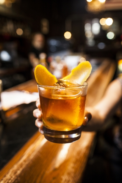 A perfectly crafted cocktail at Dutch Kills featuring Hundredweight Ice in Long Island City, Queens.