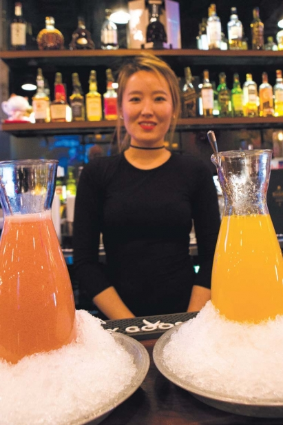 Cocktails in beds of shaved ice