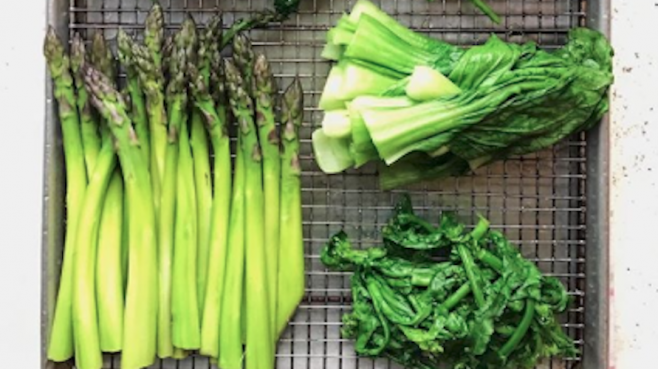 Recipe for asparagus with spring greens.