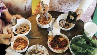 Radish Kimchi and other Korean dishes.