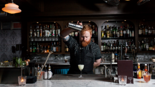 Ciaran Wiese making a cocktail at The Last Word in Astoria.