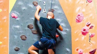 A strenuous workout on the wall at The Cliffs in Long Island City.