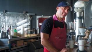 "Frank ""Turtle"" Raffaele at COFFEED's flagship location on Northern Boulevard."