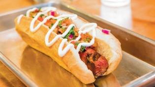 """el chapo"" hot dog at Gordo's Cantina"